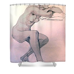 Shower Curtain featuring the drawing Nude Of A Dreamy Young Woman by Greta Corens