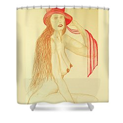 Nude With Red Hat Shower Curtain by Rand Swift