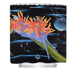 Shower Curtain featuring the painting Nudibranche by Dianna Lewis