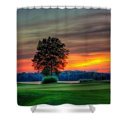 Number 4 The Landing Shower Curtain by Reid Callaway