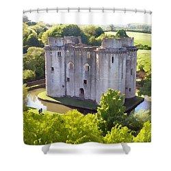Nunney Castle Painting Shower Curtain