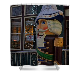 Nutcracker Statue In Downtown Grants Pass Shower Curtain by Mick Anderson