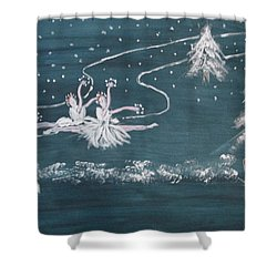 Shower Curtain featuring the painting Nutcrackers Dance Of The Snowflakes by Sharyn Winters