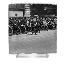 Ny Armored Motorcycle Squad  Shower Curtain by Underwood Archives