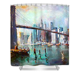 Ny City Brooklyn Bridge II Shower Curtain by Ylli Haruni