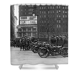 Ny Motorcycle Police Shower Curtain by Underwood Archives
