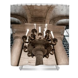 Ny Public Library Candelabra Shower Curtain by Angela DeFrias