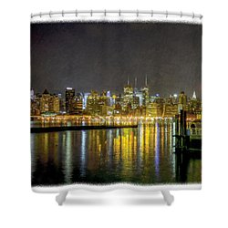 Nyc At Night Faux Oil Shower Curtain
