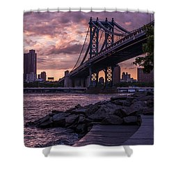 Nyc- Manhatten Bridge At Night Shower Curtain