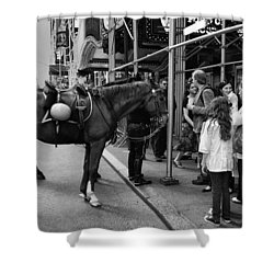 Nyc Police Horse Shower Curtain by Mark Jordan