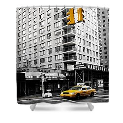 Nyc  Yellow Cab At The Crossroad Shower Curtain by Hannes Cmarits