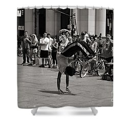 Shower Curtain featuring the photograph Nycity Street Performer by Angela DeFrias