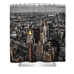 Nycs Golden Tops Shower Curtain by Hannes Cmarits