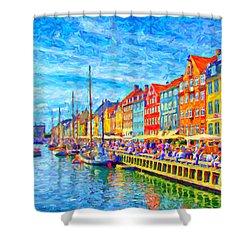 Nyhavn In Denmark Painting Shower Curtain