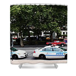 Nypd Cop Cars In Front Of Lincoln Center Shower Curtain by Nishanth Gopinathan