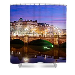 Shower Curtain featuring the photograph O Connell Bridge At Night - Dublin by Barry O Carroll