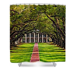 Oak Alley Paint  Shower Curtain by Steve Harrington