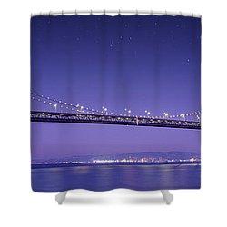 Oakland Bay Bridge Shower Curtain by Aged Pixel