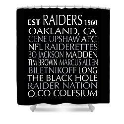 Shower Curtain featuring the digital art Oakland Raiders by Jaime Friedman