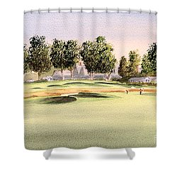Shower Curtain featuring the painting Oakmont Golf Course 14th by Bill Holkham