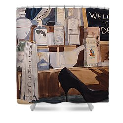 Oberkamp Drugstore Window Shower Curtain