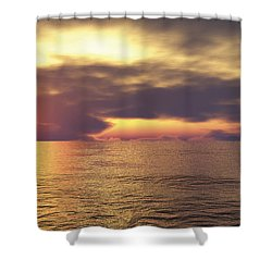 Shower Curtain featuring the digital art Ocean 2 by Mark Greenberg