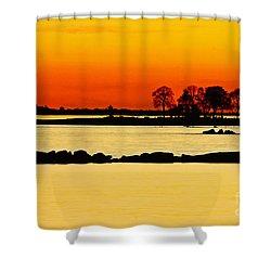 Orange Sunset Shower Curtain by Carol F Austin