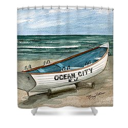 Ocean City Lifeguard Boat 2  Shower Curtain