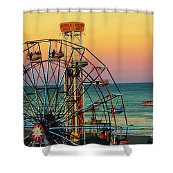 Ocean City Nj Wonder Wheel And Double Shot Shower Curtain