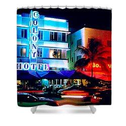 Ocean Drive Polaroid  Shower Curtain