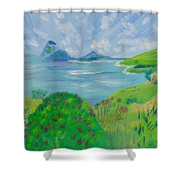 Shower Curtain featuring the painting Waves Of Jade by Meryl Goudey