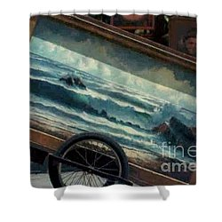 Shower Curtain featuring the photograph Ocean On Wheels Artist Cart At Jackson Square New Orleans La Usa by Michael Hoard