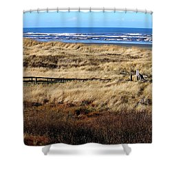 Shower Curtain featuring the photograph Ocean Shores Boardwalk by Jeanette C Landstrom