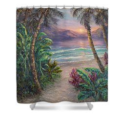 Ocean Sunrise Painting With Tropical Palm Trees  Shower Curtain