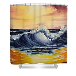 Ocean Sunset Shower Curtain by C Steele