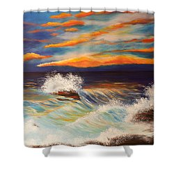 Shower Curtain featuring the painting Ocean Sunset by Michelle Joseph-Long