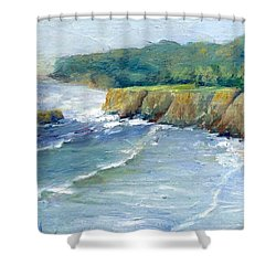 Ocean Surf Colorful Original Seascape Painting Shower Curtain by Elizabeth Sawyer