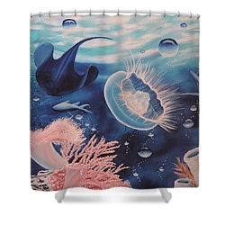 Shower Curtain featuring the painting Ocean Treasures by Dianna Lewis