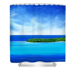 Shower Curtain featuring the digital art Ocean Tropical Island by Anthony Fishburne
