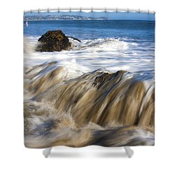 Ocean Waves Breaking Over The Rocks Photography Shower Curtain by Jerry Cowart