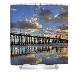 Oceanside Pier Sunset Reflection Shower Curtain by Peter Tellone