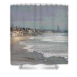 Oceanside South Of Pier Shower Curtain by Tom Janca