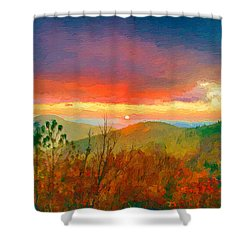 October Sunrise Painting On The Blue Ridge Parkway Shower Curtain