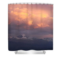 October Sunset Over Longs Peak Shower Curtain by Margaret Bobb
