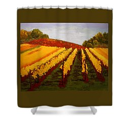 Shower Curtain featuring the painting October Vineyard by Nancy Jolley