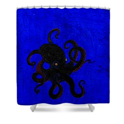 Octopus Black And Blue Shower Curtain