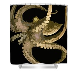 Octopus In Flight Shower Curtain by George Pedro
