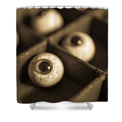 Oddities Fake Eyeballs Shower Curtain by Edward Fielding