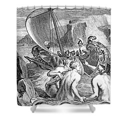 Odysseus Escapes Charms Of The Sirens Shower Curtain by Photo Researchers