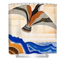 Odyssey Illustration  Bird Of Potent Shower Curtain by Francois-Louis Schmied